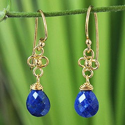 Gold Overlay 'Four Petals' Lapis Lazuli Earrings (Thailand)