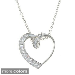 City Style Silvertone Cubic Zirconia Heart Necklace