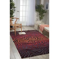 Hand-tufted Contour Abstract Zebra Print Sangria Rug (5' x 7'6) - 5' x 7'6