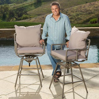 Christopher Knight Home Northrup Pipe Outdoor Adjustable Barstool with Cushion (Set of 2)