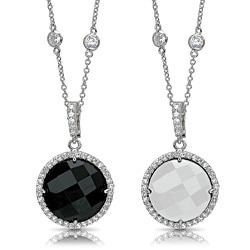 Riccova Silvertone Onyx or White Agate Cubic Zirconia Necklace