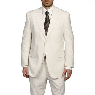 Adolfo Men's Tan/ White Seersucker Suit