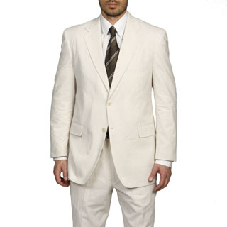 Adolfo Men's Tan/White Seersucker Suit (3 options available)