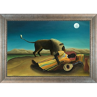 Henri Rousseau 'The Sleeping Gypsy' Hand Painted Framed Canvas Art