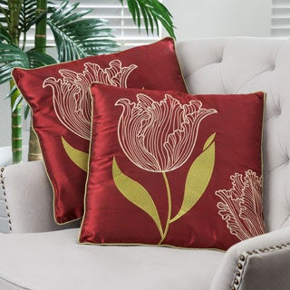 Christopher Knight Home 18-inch Red Tulip Pillows (Set of 2)