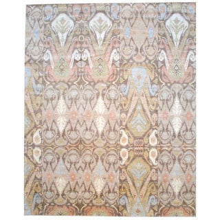 Herat Oriental Afghan Hand-knotted Vegetable Dye Ikat Design Wool Area Rug (12'1 x 15'2)