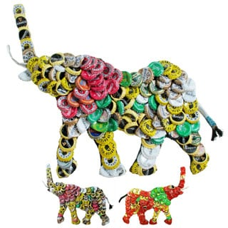 Refurbished Handmade Recycled Bottle Cap 12-inch Elephant Wall Plaque (Kenya)