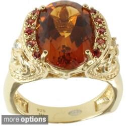 Dallas Prince Silver Madiera Citrine, Orange and White Sapphire Ring