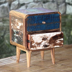 Rusticity Mid Century Modern Weathered Multicolor Two Drawer Reclaimed Teak Wood Bedroom or Living Room End Tables (Indonesia)