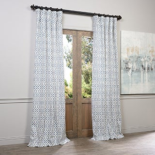 Exclusive Fabrics Nairobi Denim Printed Cotton Curtain Panel