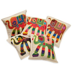 Applique Elephant Cushion Covers with Kantha Embroidery (Set of 5) (India)