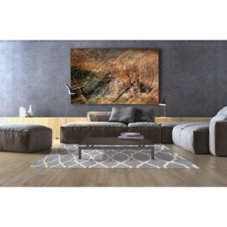 Alliyah Handmade Bluish-Grey New Zealand Blend Wool Rug (5' x 8')