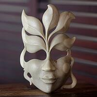 Handmade Hibiscus Wood 'Face of Nature' Mask (Indonesia)