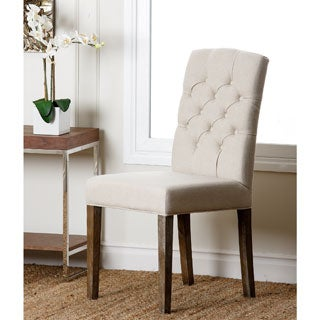 Abbyson Colin Beige Linen Tufted Dining Chair