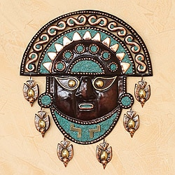 Handcrafted Bronze and Copper 'Mighty Moche' Mask (Peru)