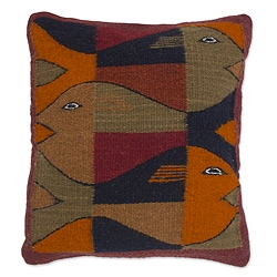 Handcrafted Wool 'Fish' Zapotec Cushion Cover (Mexico)