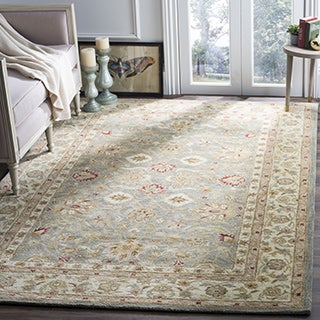 Safavieh Handmade Antiquity Blue-grey/ Beige Wool Rug (6' x 6')