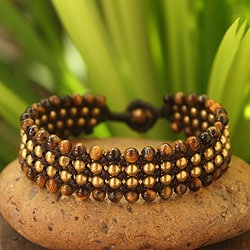 Handcrafted Brass 'Golden Sky' Tiger's Eye Bracelet (Thailand)