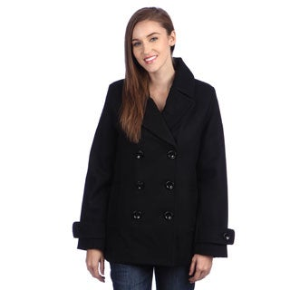 Excelled Women's Double Breasted Pea Coat - Free Shipping Today