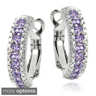 Glitzy Rocks Silvertone Gemstone and Diamond Accent Half Hoop Earrings