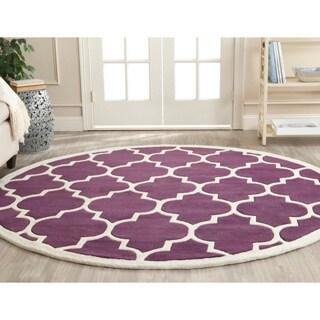 Safavieh Handmade Moroccan Chatham Purple Wool Rug (7' Round)