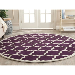 Safavieh Handmade Moroccan Purple Wool Indoor Rug (7' Round)
