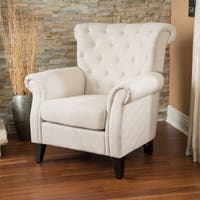 Franklin Tufted Light Beige Fabric Club Chair by Christopher Knight Home
