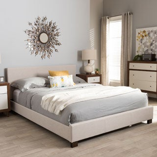 contemporary platform bed by baxton studio - Full Size White Bed Frame