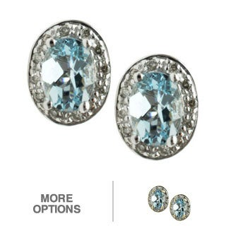 Michael Valitutti 14k White or Yellow Gold Aquamarine and Diamond Earrings