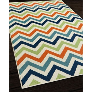 Indoor/ Outdoor Multi Chevron Rug (6'7 x 9'6)