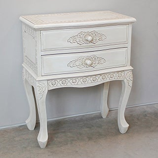 International Caravan Windsor Antique White Carved Hardwood 2-drawer End Table