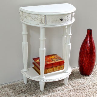 International Caravan Windsor Antique White Carved Hardwood Half Moon 2-tier Wall Table