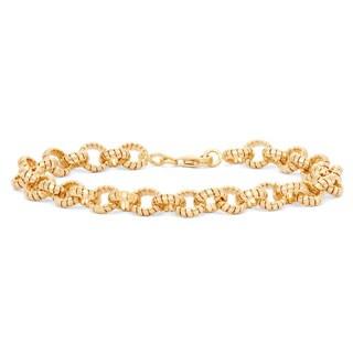Gioelli 14k Yellow Gold Tubogas Twisted Round Link Bracelet