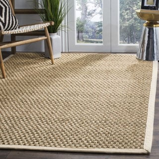 safavieh casual natural fiber natural and ivory border seagrass rug 8u0027 square - Seagrass Rug