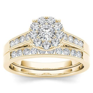 De Couer 10k Yellow Gold 3/4ct TDW Diamond Bridal Ring Set