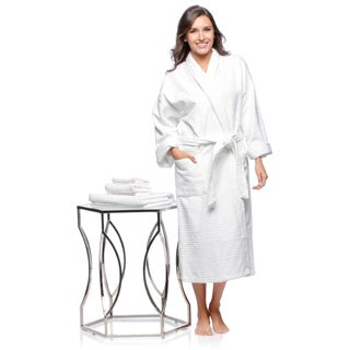 Luxurious Full Length Combed Cotton Bath Robe with Bonus Matching 3-piece Towel Set