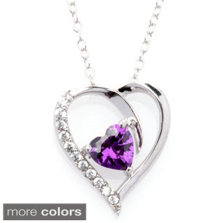 Fremada Rhodium Plated Silver Cubic Zirconia Heart Birthstone Necklace