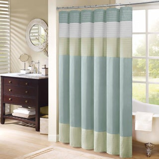 Madison Park Chester Pieced Faux Silk Shower Curtain