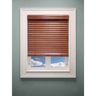 Chicology Faux Wood Blind Durable 2-inch ) Slats Detailed Wood Grain Embossing Blaze Brown Brown (23-inch x 64-inch )