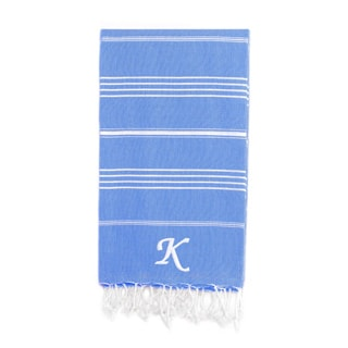 Authentic Pestemal Fouta Turkish Cotton Bath/ Beach Towel Royal Blue with Monogram Initial