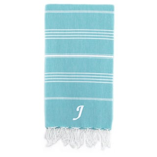 Authentic Pestemal Fouta Original Turquoise Blue and White Stripe Turkish Cotton Bath/ Beach Towel with Monogram Initial (More options available)