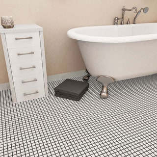 SomerTile 11.875 x 11.875-inch Polar Square White Porcelain Mosaic Floor and Wall Tile (Pack of 10)