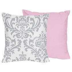 Sweet Jojo Designs Pink, Grey and White Elizabeth Decorative Accent Throw Pillow