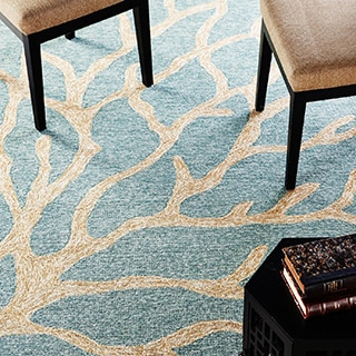 Hand-hooked Indoor/ Outdoor Coastal-pattern Blue Area Rug (5' x 7'6)