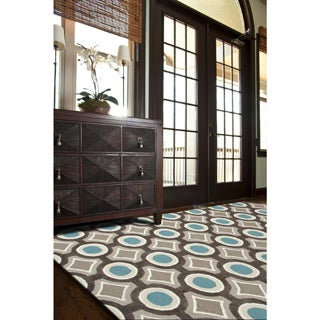Hand-tufted Contemporary Geometric Pattern Blue Rug (5' x 7'6)