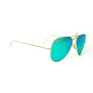 Ray-Ban Aviator RB3025 Unisex Gold Frame Green Mirror Lens Sunglasses