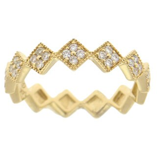 14k Gold 1/4ct TDW Vintage Inspired Stackable Diamond Ring