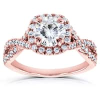 Annello by Kobelli 14k Gold 1 1/2ct Round Moissanite and Diamond Halo Twist Shank Engagement Ring