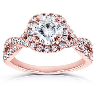 Annello by Kobelli 14k Gold 1 1/2ct Round Moissanite (HI) and Diamond Halo Twist Shank Engagement Ring