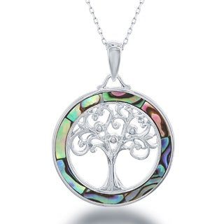La Preciosa Sterling Silver/ Gold Plated Tree of Life Pendant Necklace